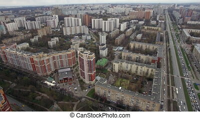 Flying over Moscow and Leninsky Avenue - Aerial view of...