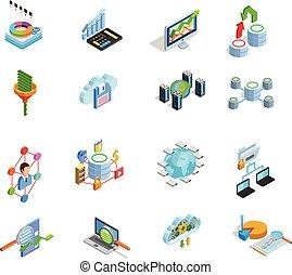 Data Analyses Elements Isometric Icons Set - Modern data...