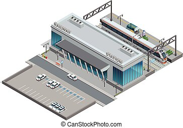 Isometric Miniature Of Railway Station - Urban railway...