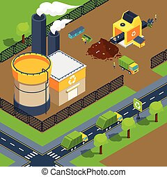 Recycling Plant Isometric Poster - Recycling plant isometric...