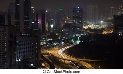 Timelapse of night transport traffic in Kuala Lumpur,...