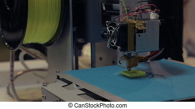 Process of 3D printing with plastic wire filament on 3D...