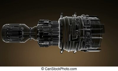 loop rotate jet engine turbine of plane, aircraft concept,...