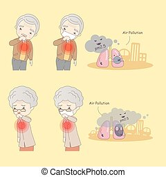 old people with air pollution - cartoon old people with air...