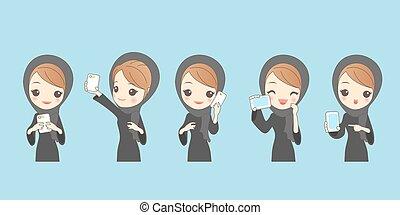 cartoon arab woman use phone