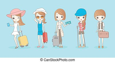 travel woman wear different clothes