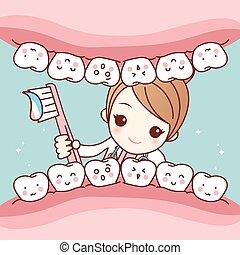 cute cartoon dentist brush tooth - cute cartoon dentist...