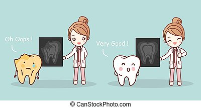 doctor and teeth according x-ray