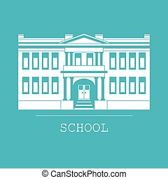 Silhouette illustration school building in a flat style