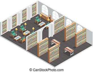 Bookstore And Library Isometric Interior - Isometric...