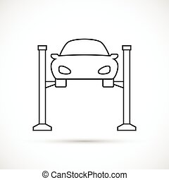Car lifting outline icon