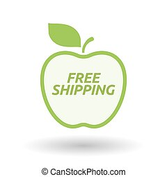 Isolated line art fresh apple fruit icon with    the text FREE SHIPPING