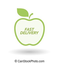 Isolated line art fresh apple fruit icon with  the text FAST DELIVERY