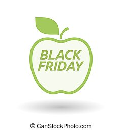 Isolated line art fresh apple fruit icon with    the text BLACK FRIDAY