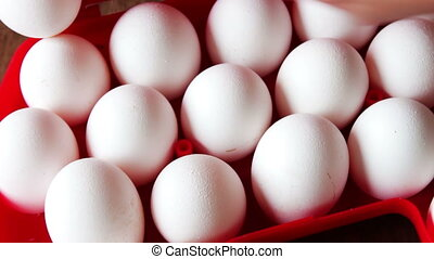 raw eggs in a red plastic tray or box - Big white fresh raw...