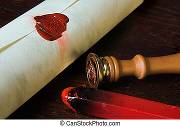 Confidential contract - Roll of parchment paper, sealed with...