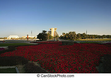 Flowers and Doha hotel - A municipal flowerbed full of...