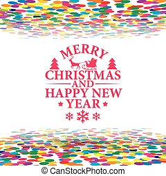 Happy new Year And Nerry Christmas Multicolor Curling Stream, Isolated On White Background, Vector Illustration