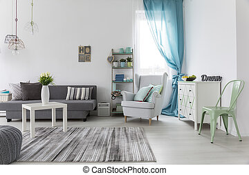 Living room interior with bright walls and floor - Shot of a...