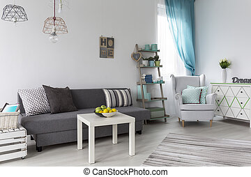 Pastel living room interior - Shot of a pastel living room...