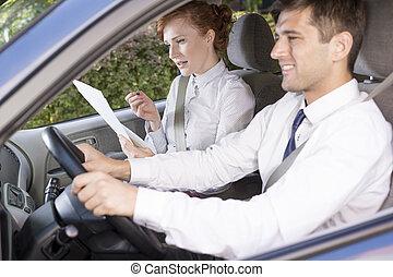 taxi, mujer de negocios, conductor, coche