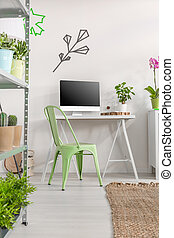 Minimalistic home office with cactuses and plants - Home...