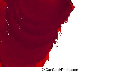 red liquid flows and fills the screen slow motion. tinted...