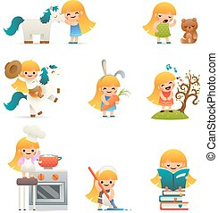 Little Happy Girl Smiling Child Icon Set Concept Isolated Flat Design Vector Illustration