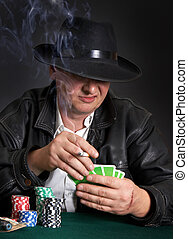 Gambler - Gambling mafia type with cigarette, playing poker