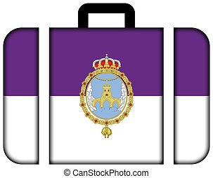 Flag of Loja, Spain. Suitcase icon, travel and...