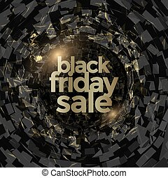 Black Friday sale poster design with golden glowing effect....