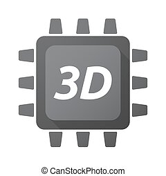 Isolated Central Processing Unit icon with    the text 3D