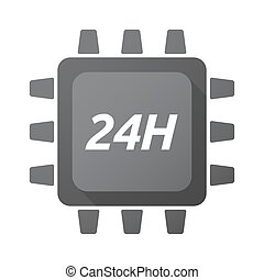 Isolated Central Processing Unit icon with the text 24H -...