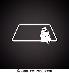 Wipe car window icon. Black background with white. Vector...