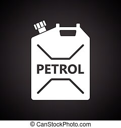 Fuel canister icon. Black background with white. Vector...
