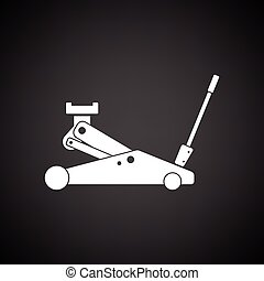 Hydraulic jack icon. Black background with white. Vector...