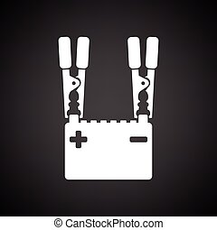 Car battery charge icon. Black background with white. Vector...