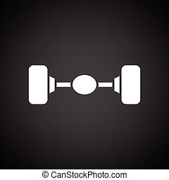 Car rear axle icon. Black background with white. Vector...