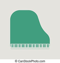 Grand piano icon. Gray background with green. Vector...