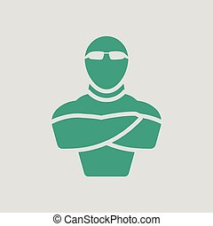 Night club security icon. Gray background with green. Vector...