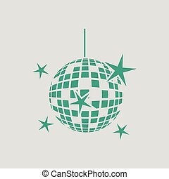 Night clubs disco sphere icon. Gray background with green....