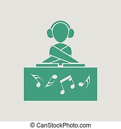 Night club DJ icon. Gray background with green. Vector...
