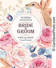 Vintage wedding invitation - Vector vintage wedding...