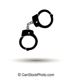 Handcuff icon. White background with shadow design. Vector...