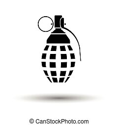 Defensive grenade icon. White background with shadow design....