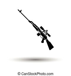 Sniper rifle icon. White background with shadow design....