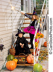 halloween witchcraft - Happy children in a costumes of...