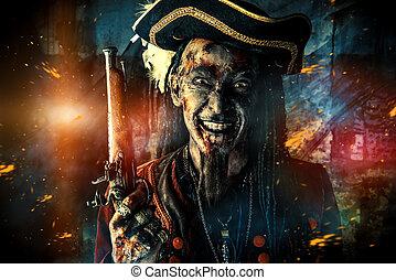 terrible smile - Portrait of a noble brave dead pirate....