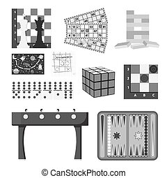 Board games set icons in monochrome style. Big collection of...