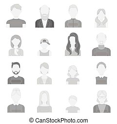 Avatar set icons in monochrome style. Big collection of...